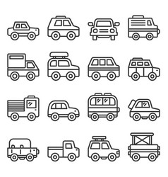 car icons set on white background line style vector image