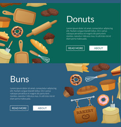 cartoon bakery web banner templates vector image