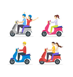 Cartoon characters group of people riding vector
