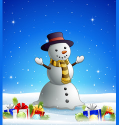 cartoon snowman in the winter background with gift vector image