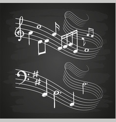 Chalk sketch musical sound wave with music notes vector