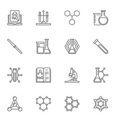 chemical concept icons or signs in thin vector image