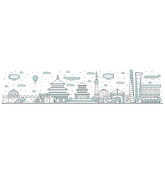 china skyline line cityscape vector image