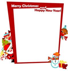 Christmas frame with kids vector