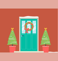 christmas holiday doorway with wreath and fir vector image