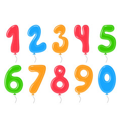 color balloons with numbers decoration elements vector image