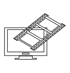 computer monitor and film roll vector image