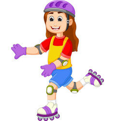 Cute girl cartoon playing roller skates vector