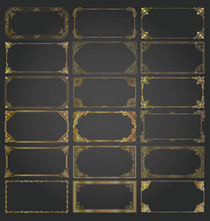 decorative rectangle frames and borders set gold vector image
