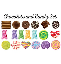 different design chocolate and candy set vector image