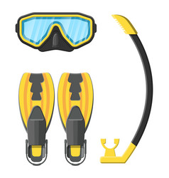 Diving mask flippers and snorkel vector