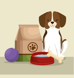 Dog with bone and food bag pet friendly vector