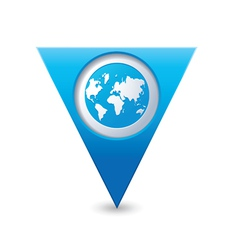 Earth icon on map pointer blue vector