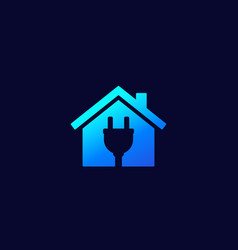 Electricity icon house and electric plug vector