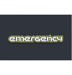 Emergency word text logo design green blue white vector