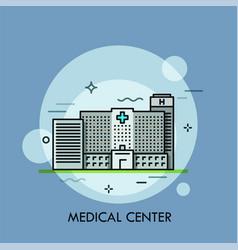 facade of modern gray building of medical center vector image