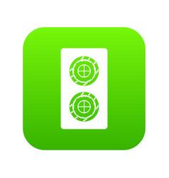 Fish roll icon digital green vector