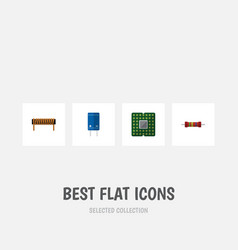 flat icon device set of bobbin transistor vector image