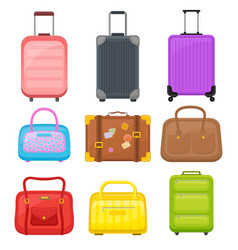 Flat set of various travel bags suitcases vector