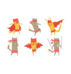 funny ninja dog and cat characters set cute vector image