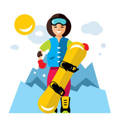 Girl with snowboard snowboarding flat vector