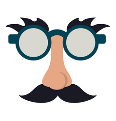 Glasses and mustache with nose joke vector