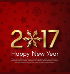 Golden new year 2017 concept on red vintage vector