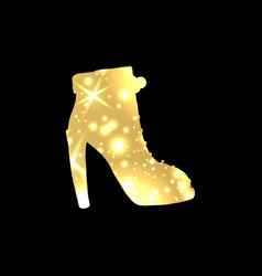 golden shoes symbol with silhouette and gold vector image