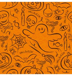 Halloween seamless Pattern with ghost skull vector image