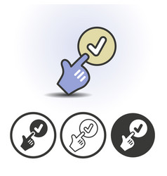 hand cursor and checkmark icon vector image