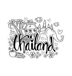 hand drawn symbols of thailand vector image