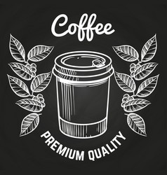 hand drawn take away coffee mug and coffee vector image