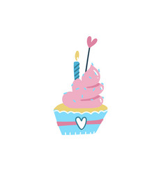 happy birthday cake cupcake topper candles vector image