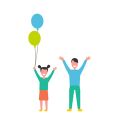 happy children boy and girl rising hands up vector image