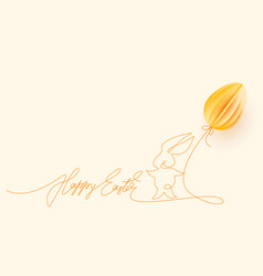 happy easter cute rabbit with air balloon vector image