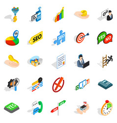 Headquarters icons set isometric style vector