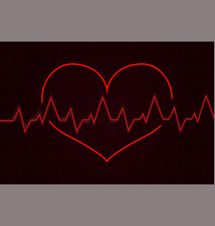 Heartbeat cardiogram graph with red heart vector