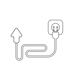 Icon concept arrow with cable plug and outlet vector