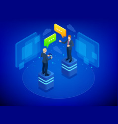 isometric business negotiations concept team work vector image
