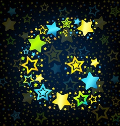 Letter G cartoon star colored vector