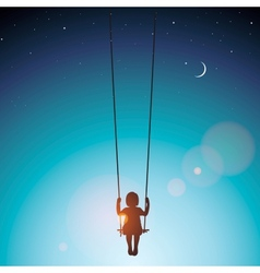 Little girl on a swing vector