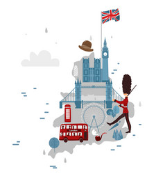 map england and symbols vector image