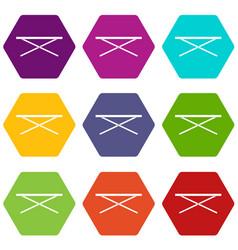 Market counter icon set color hexahedron vector