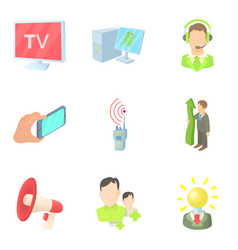 Mass publication icons set cartoon style vector