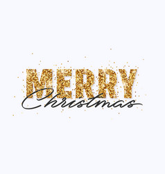 merry christmas gold glitter and lettering design vector image