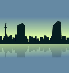 mexico city with reflection scenery collection vector image
