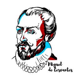 Miguel de cervantes portrait vector