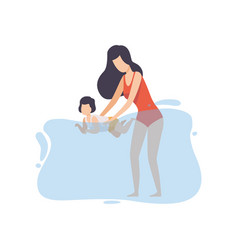 Mother teaching to swim her little son happy mom vector