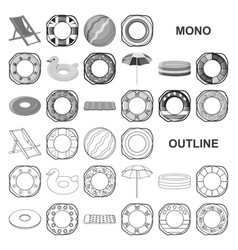 Multicolored swimming circle monochrom icons in vector