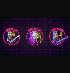Neon open air signs collection with microphones vector